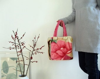 cuddly colorful plush handbag with flowers pink
