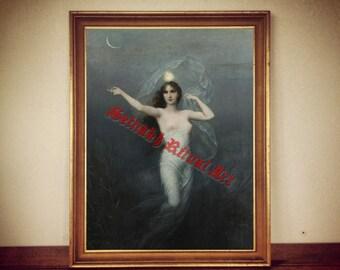 "Moonlady poster, ""Luna"" by Karl Schweninger print, esoteric illustration, magic poster, fairy decor, fantasy art #289"