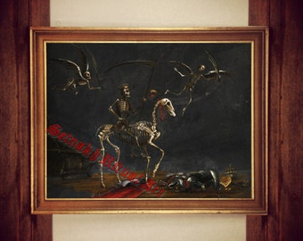 Death Triumphant print, Memento Mori illustration, skeleton poster, occult painting reproduction #313