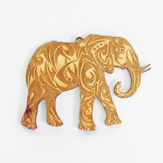 Elephant Christmas Ornament Wooden Elephant Wood Ornament