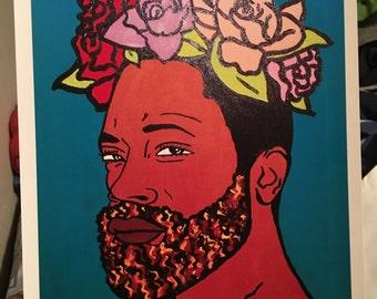 Flower man print