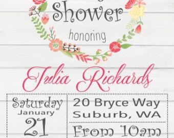 DIGITAL FILE- Vintage floral themed Baby shower invitation