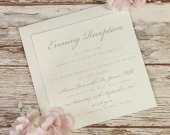 Delicate White Lace Bandeau Rustic Evening Wedding Invitation