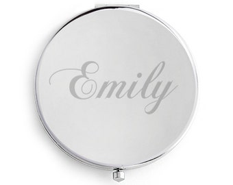 Compact Mirror, Engraved, Personalized, Silver, Custom Name compact, wedding, keepsake