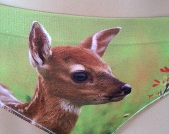 Panties - Undearwear -DEER -deer with flower- Printed Panties - unique gift - birthday gift for her