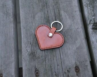 SALE Leather heart keychain / keyfob