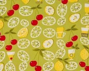 Anna Griffin OOP Retro Kitchen Fabric for Windham - Elsie's Kitchen Collection - Lemonade 24570-3 in Avocado Green - One Yard