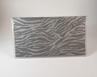 Zebra glitter checkbook cover
