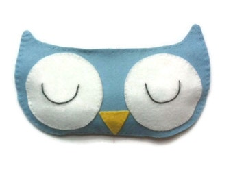 Owl eye mask, Owl sleep mask, Animal sleep mask, Bird eye mask, Kid's sleep mask, Bird sleep mask, Blue owl