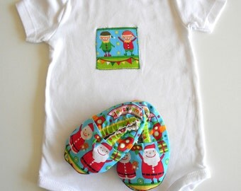 Baby Christmas Outfit Onesie Shoe Pack Clothes First Christmas Santa Elf