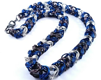 Blue/White/Grey Chainmaille Necklace