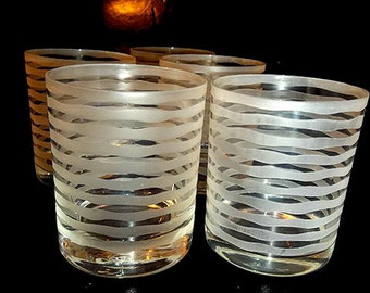 Horizontal Frosted Rocks / Low Ball Glasses