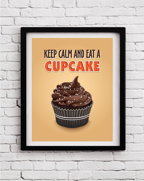 Cupcake kitchen decorkitchen printkitchen wall art cupcake for Cupcake wall art