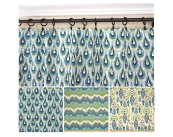 Peacock Window Curtains.Blue Green Drapery.Blue Grey Turquoise Curtain  Panels.Kitchen Curtains