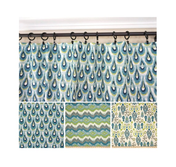 Blue grey turquoise curtain panels kitchen curtains ikat curtains 63