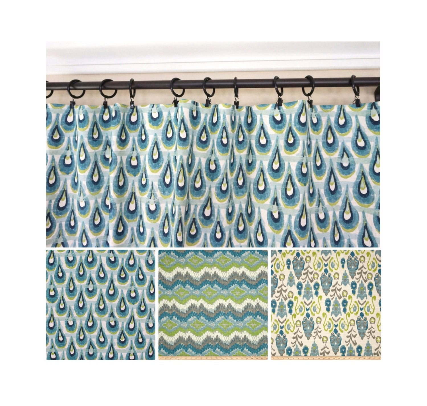 Peacock Window Curtains Blue Green Drapery Blue Grey Turquoise