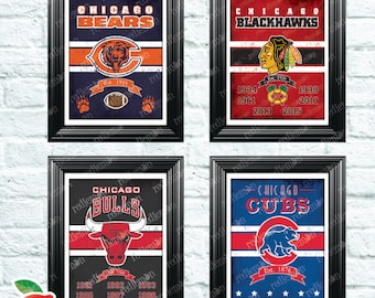 Set of 4 Vintage Style Chicago Sports Themed Art Prints