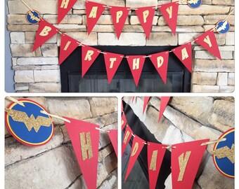 WONDER WOMEN BANNER, super hero banner, wonder women happy birthday banner