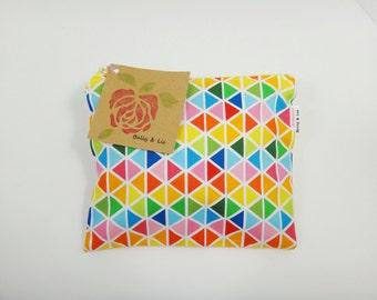 Rainbow Reusable Snack Bag, Sandwich Bag, Girls Snack Bag, Reusable Sandwich Bag, Travel Bag, Pacifier Pouch, Pet Treat Pouch