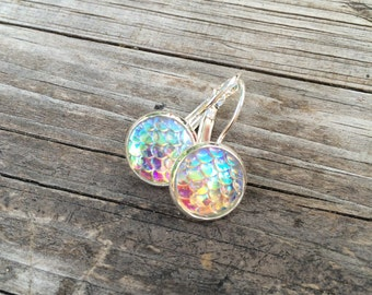 White Mermaid Scale Earrings, Mermaid Earrings, Leverback Earrings