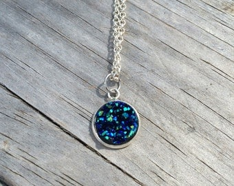 Dark Blue Druzy Necklace, Charm Necklace