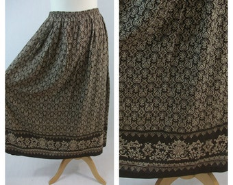 80s vintage midi skirt. Print skirt. Brown and beige skirt. Spring summer skirt. Size M - L.