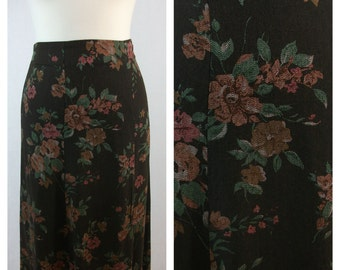 80s 90s vintage skirt. Brown and floral print skirt. Size L.