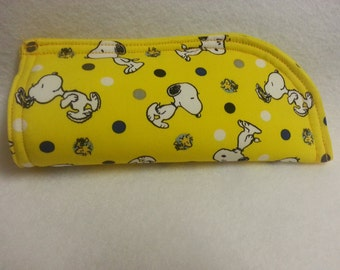 Snoopy Soft Eye Glass Case on yellow