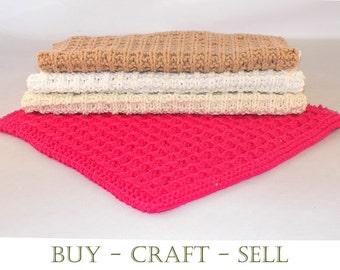 Knitting Pattern - Dishcloths/Washcloths - Instant Download - Waffle Design