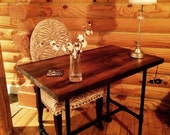 """Reclaimed Wood Desk Table, Barn wood table, Shaby chic furniture - Solid Oak W/ 28"""" Black Iron Pipe legs."""