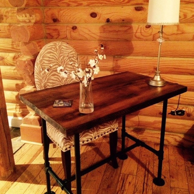 reclaimed wood desk table barn wood table shaby chic furniture solid oak w 28 black iron pipe legs black iron pipe table
