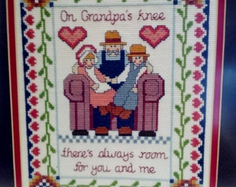 "Framed Handmade Cross-Stitch ""Grandpa's Lap"" Pennsylvania Dutch"