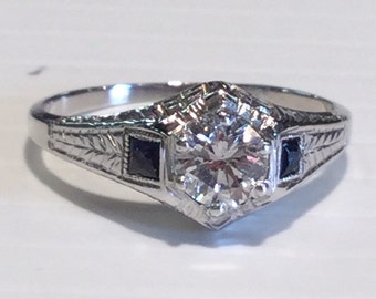 Vintage Art Deco 18k White Gold Diamond and Synthetic Sapphire Ring, .42 points