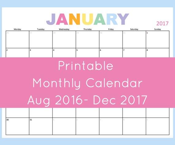 Monthly Calendar Printable, 2017 Calendar Printable, 2017 Calendar ...