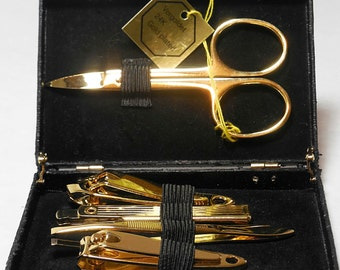 Vintage German Novelty Briefcase Holding Five Gold Tone Manicure Tools