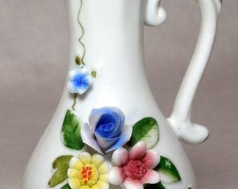 Vintage Miniature Bisque Decorative Pitcher with Applied Flowers
