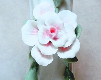 Vintage Porcelain Bud Vase Glazed White with Applied Rose Vine
