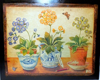 Two vintage Cottage Chic Primula/Auricula Prints Applied to Heavy Board