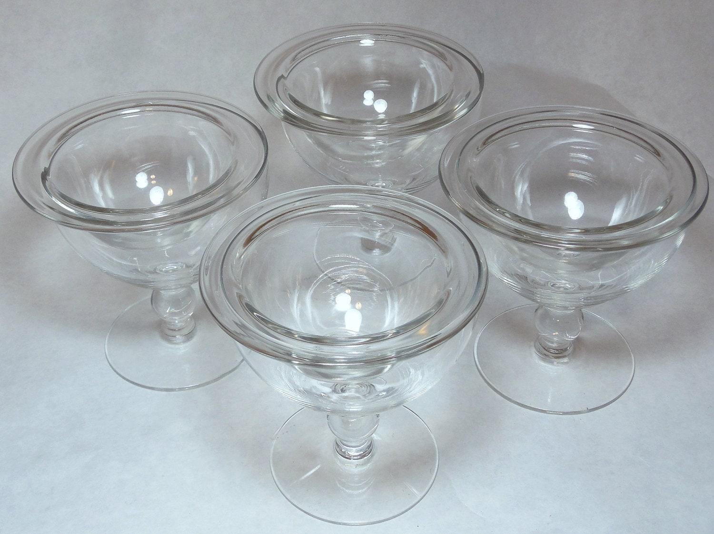 four vintage shrimp cocktail glasses by atticliving on etsy. Black Bedroom Furniture Sets. Home Design Ideas