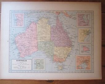 1940s Vintage Australia map, vintage Australia, Australia map, 1940s map, 1942 map, 1940s australia, east india islands