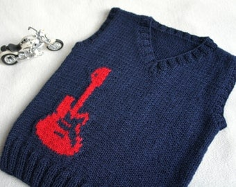 Children hand knitted wool vest, Knitted Baby Toddler Vest, Boy navy vest with  red guitar, Tank top for boy
