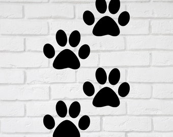 Dog Paw Wall Decal Stickers  - 1 to 19 inches high Wall Large Wall Art,