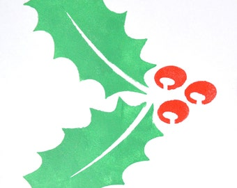 Christmas Stencils Holly - Wall Art Stencil in reusable Mylar, wall art, small to large stencils up to 19.5 x 27.5 inches.