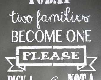 Today two families become one - Wedding Stencils in Reuasble Mylar