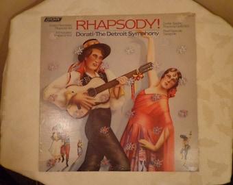 RHAPSODY Dorati, The Detroit Symphony, London Enesco Roumanian Rhapsody No. 1, Liszt, Dvorak, Ravel Espagnole, 1979, DECCA Record, Stereopho