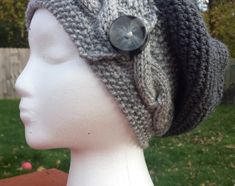 Crochet slouchy hat with knitted braid Women's cable hat Hat with buttons Knitting braid Knitting cable Slouchy hat Knit hat Winter hat