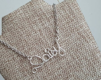 Monogram Wire Necklaces,  Name necklace pendant,personalized wire name, personalized wire charm,wired twist, bridesmaid jewelry,gift for her
