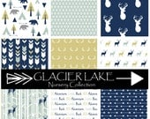 GLACIER LAKE Nursery Collection - Deer Baby Bedding, Hunting, Bear, Camping Crib Bedding- Design your own // Navy, Gold & Mint