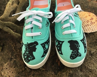 Little Mermaid Silhouette Hand Painted Shoes