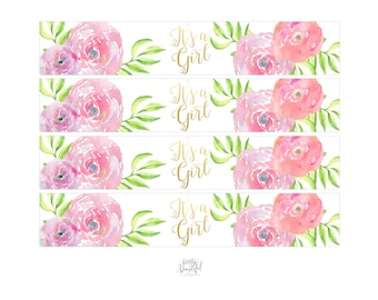 It's a Girl Printable, Water Bottle Labels, Watercolor Flowers, Gold, Calligraphy, Baby Shower, Baby Girl